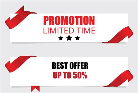 promotion banner with red ribbon free vector in adobe illustrator ai ai vector illustration