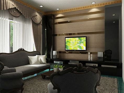 Tv Feature Wall Design.the Strips Of Mirrors Erases The