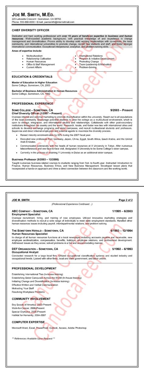chief diversity officer resume sample  cando career coaching