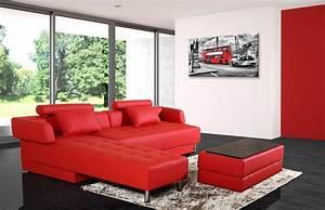 Canapé Rouge Convertible : canap d 39 angle cuir rouge r versible et convertible largo ~ Teatrodelosmanantiales.com Idées de Décoration