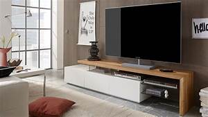 TV Rack ALIMOS TV Board In Wei Matt Lack Und Eiche Massiv