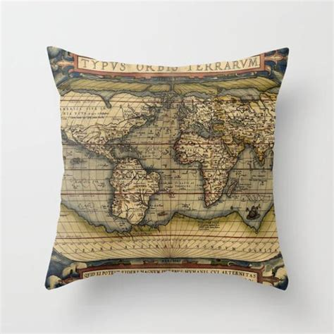 Antique World Map Throw Pillow Vintage Map Outdoor Pillow