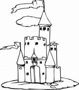 Castle Coloring Medieval Easy Drawing Amazing Kidsplaycolor sketch template