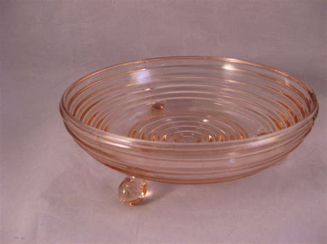 Pink Ribbed 3 footed Depression Era Glass candy Dish from
