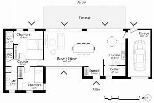 plan maison plain pied avec 2 chambres et garage ooreka With plan de maison 2 chambres