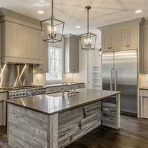 gray shiplap kitchen hood with stainless steel cooktop With kitchen cabinets lowes with distressed wood and metal wall art