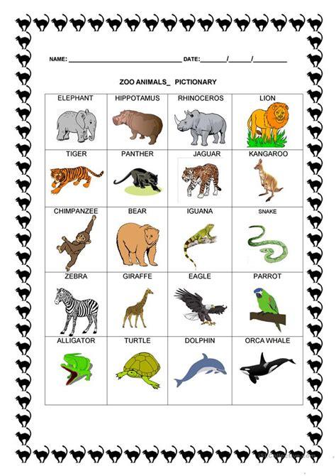 22 free esl zoo animals worksheets