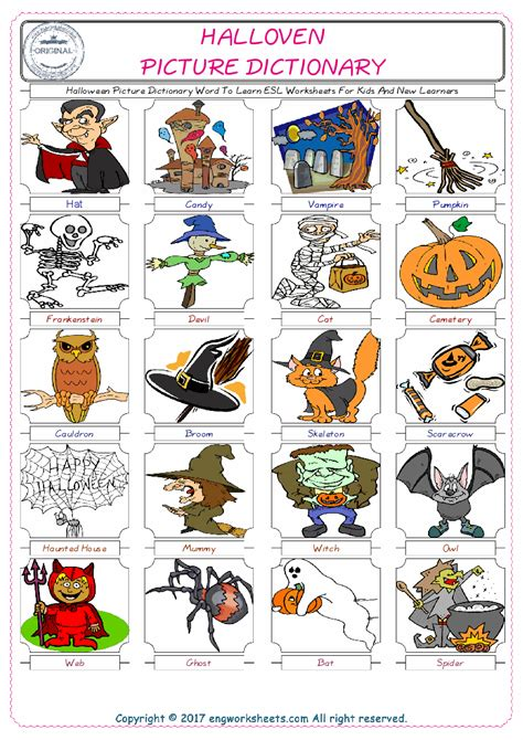 Halloween Picture Dictionary Word To Learn Esl Worksheets For Kids And New Learners