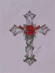 Crosses with Roses Tattoo Designs