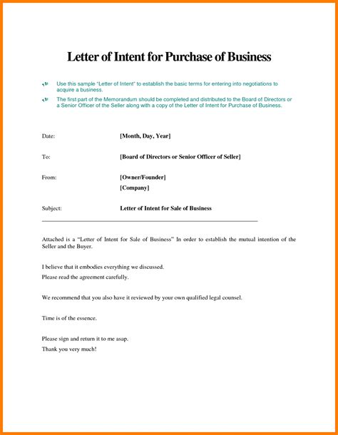 sample letter  intent  purchase business hire lease