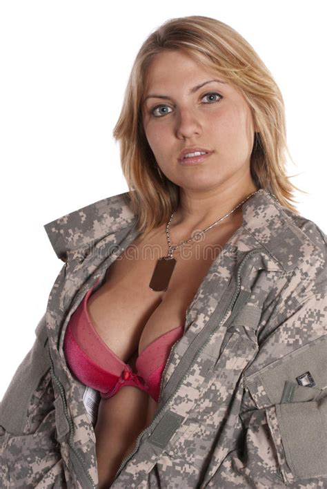 Pin Up Girl Implied Nude Military Uniform Stock Image