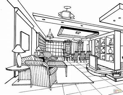 Coloring Living Pages Drawing Bedrooms Bedroom Printable