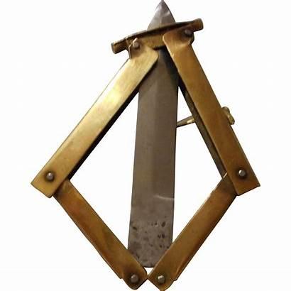 Knife Brass Folding Unusual Handle Locking