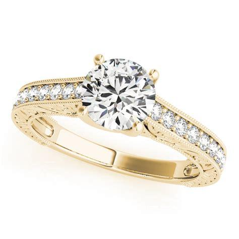 vintage diamond engagement ring bridal set 14k yellow gold