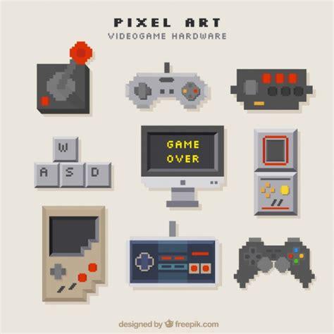 Consoles Set In Pixel Art Style Vector Free Download