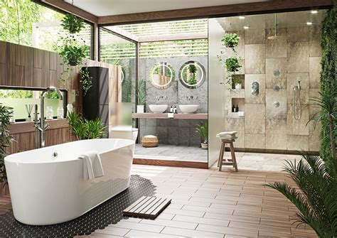 Sunlight Streams Into Bathrooms Connected To Nature :  Tropical Bathrooms