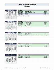 Free yearly schedule of events template for Annual calendar of events template