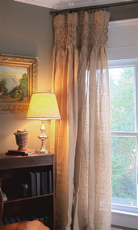 Smocked Burlap Curtain Panels by 1000 Images About Window Treatments On Custom