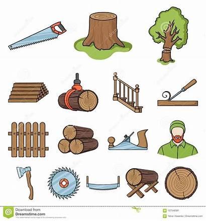 Sawmill Cartoon Timber Hardware Symbol Tools