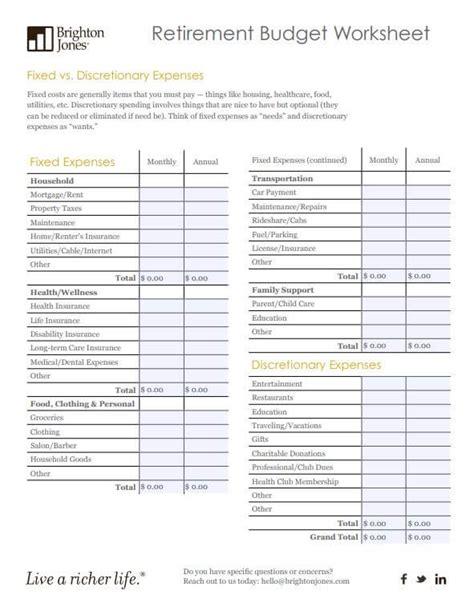 Retirement Budget Worksheet  Brighton Jones