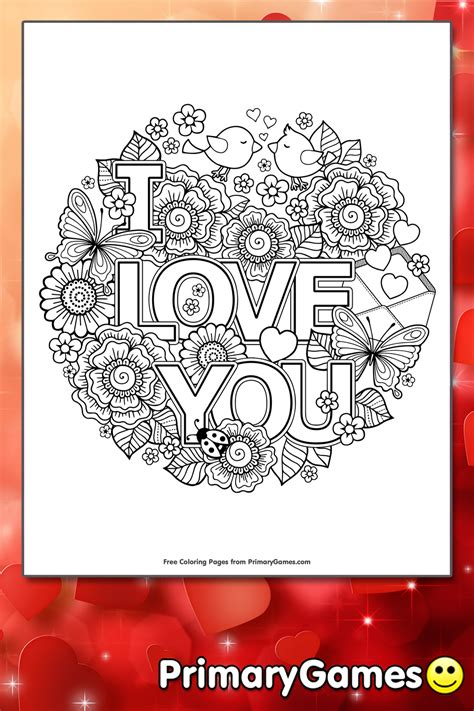 love  coloring page printable valentines day coloring  primarygames