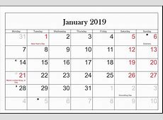 January 2019 Calendar With Holidays For US, Canada, India