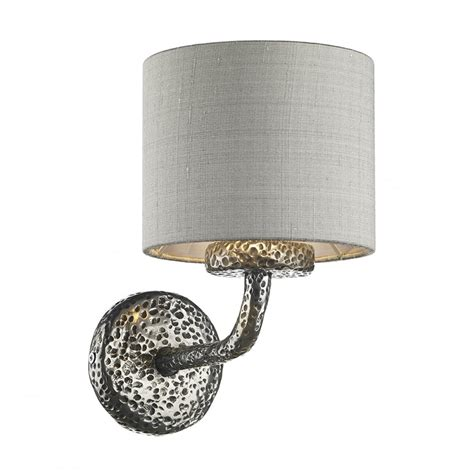traditional hammered pewter wall light with silver grey