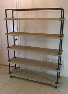 shelf/cart 5 tier, reclaimed wood, steel pipe, weathered ...