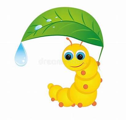 Caterpillar Vector Hiding Under Rain Illustration Clipart