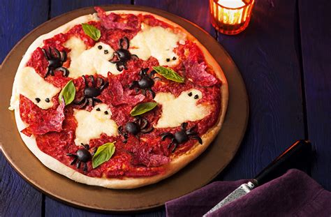 spooky food haunted pizza recipe halloween meal tesco real food