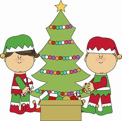 Christmas Clip Elves Clipart Decorating Tree Elf