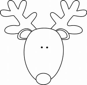 clip art black and white black and white reindeer head With reindeer face template printable