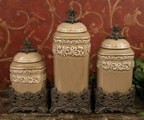 tuscan style kitchen canisters tuscan drake design medium taupe canister s 3 new ebay