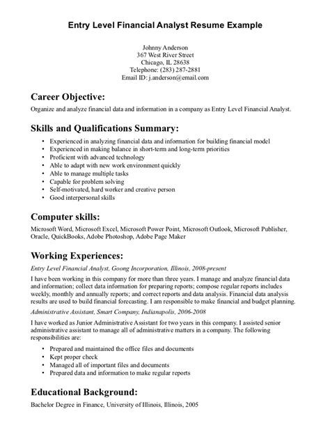 Entry Level Finance Resume Exles by Entry Level Financial Analyst Resume Exle Writing Resume Sle Writing Resume Sle