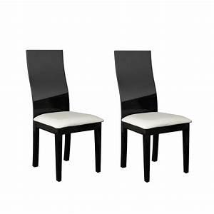 Chaise sale a manger noir et blanc for Meuble salle À manger avec chaise salle a manger blanc laquà