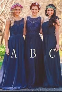 navy blue chiffon a line bridesmaid dresses robe de With robe de demoiselle d honneur pour femme ronde