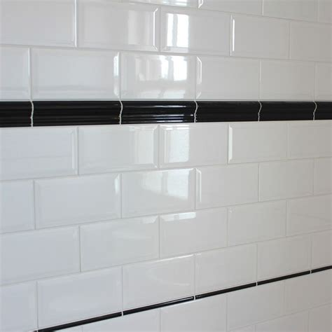bevelled edge ceramic wall tile gloss white finish in a