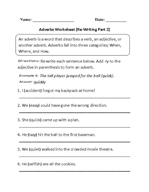 re writing adverbs worksheet part 2 beginner learn and