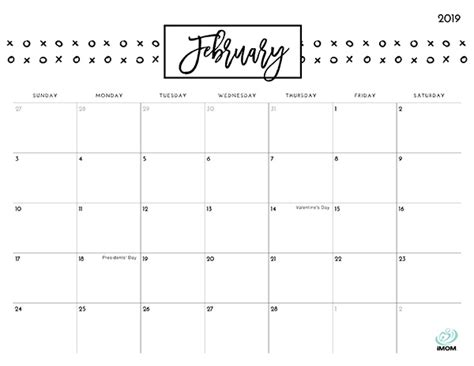 pretty patterns  printable calendar imom