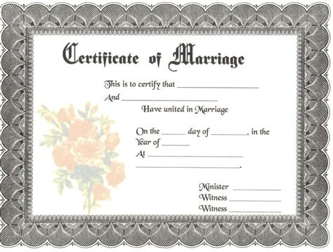 blank marriage certificates  blank marriage