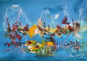 tableau abstrait bleu paysage abstrait peinture With couleur gris bleu peinture 4 tableau peinture contemporaine paysage minimaliste