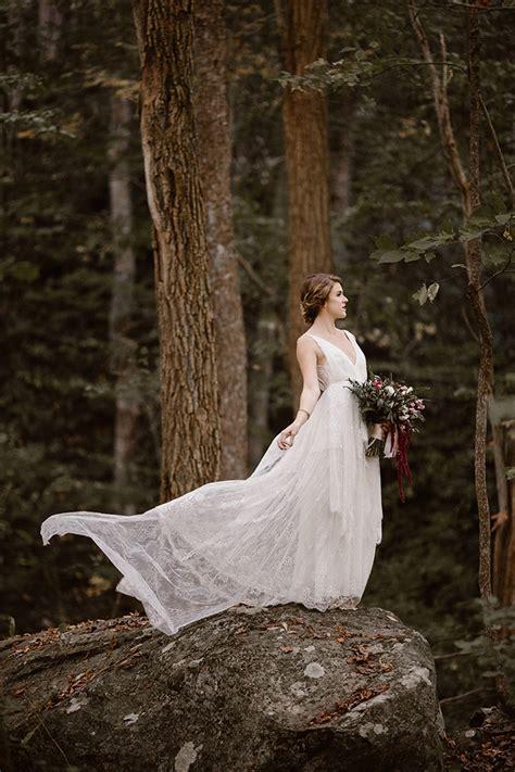 romantic autumn mountain bridal portraits glamour grace