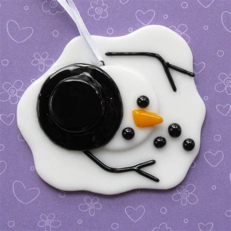 melted snowman ornament by nivenglassoriginals on etsy