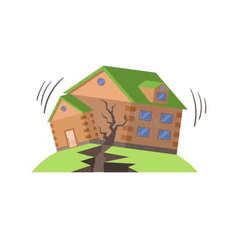 huse in earthquake natural forces threat stock vector illustration of building quake 75672399