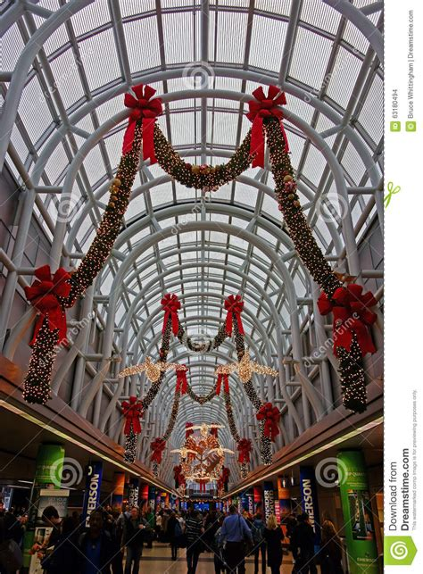 christmas decorations ohare airport chicago editorial