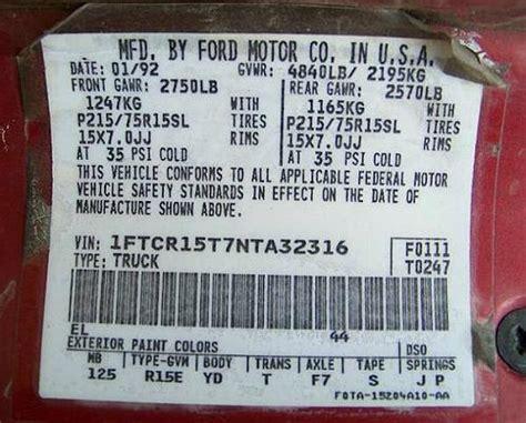understanding  federal door sticker   ford ranger