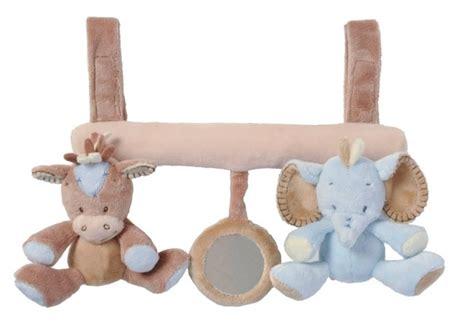 attache siege bebe nattou attache cosy cheval et eléphant rigolos bleu