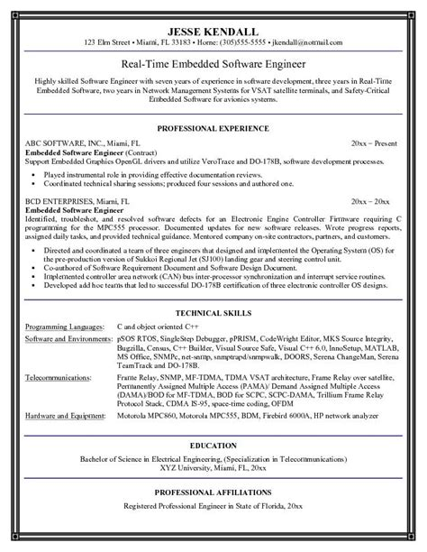 exle embedded software engineer resume sle