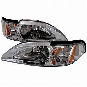 1994-1998 Ford Mustang Chrome Euro Headlights-2LCLH-MST94-TM