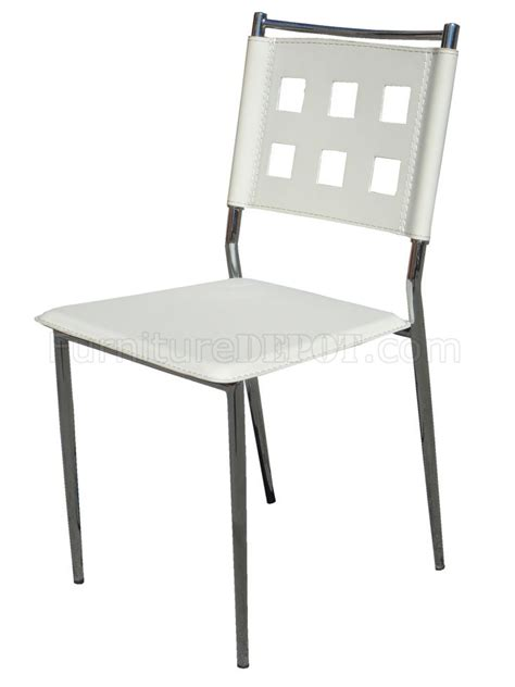 white vinyl set   modern dining chairs wchrome frame